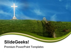 Cross On The Hill Religion PowerPoint Themes And PowerPoint Slides 0811