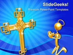 Cross Prayer Religion PowerPoint Template 0610