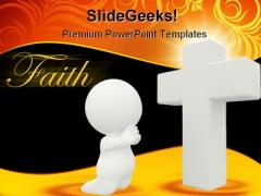 Cross Prayer Religion PowerPoint Template 0910