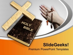 Cross Symbol And Bible With Praying Hands PowerPoint Templates Ppt Backgrounds For Slides 0113