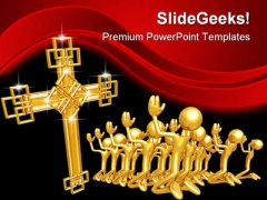 Cross Worship Religion PowerPoint Backgrounds And Templates 1210