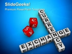 Currency Exchange Dice Business PowerPoint Backgrounds And Templates 1210