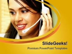 Customer Service Operator Business PowerPoint Templates And PowerPoint Backgrounds 0811