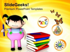 Cute Girl With Books For Study PowerPoint Templates Ppt Backgrounds For Slides 0513