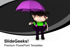 Cute Girl With Purple Umbrella PowerPoint Templates Ppt Backgrounds For Slides 0613
