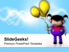 Cute Little Girl With Balloons PowerPoint Templates Ppt Backgrounds For Slides 0713