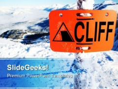 Dangerous Cliff Sign Symbol PowerPoint Themes And PowerPoint Slides 0811