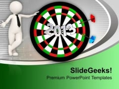 Dart Hitting Board 2013 With Man Achievement PowerPoint Templates Ppt Backgrounds For Slides 0113