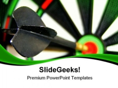 Dart Hitting Bullseye Business PowerPoint Themes And PowerPoint Slides 0811