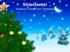 Decorated Christmas Tree Under Blue Sky PowerPoint Templates Ppt Backgrounds For Slides 1212