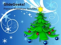 Decorated Christmas Tree With Balls Holiday PowerPoint Templates Ppt Backgrounds For Slides 1212