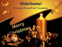 Decorations Lights Christmas PowerPoint Template 0610