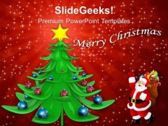 Decorative Christmas Tree And Santa With Gifts PowerPoint Templates Ppt Backgrounds For Slides 1112