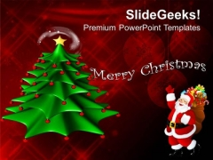 Decorative Christmas Tree With Red Background PowerPoint Templates Ppt Backgrounds For Slides 1112