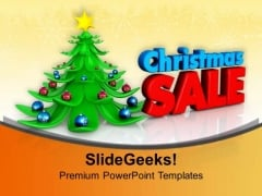 Decorative Christmas Tree With Sale Background PowerPoint Templates Ppt Backgrounds For Slides 1112