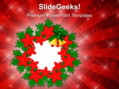 Decorative Flowers And Wreath Christmas PowerPoint Templates Ppt Backgrounds For Slides 1212