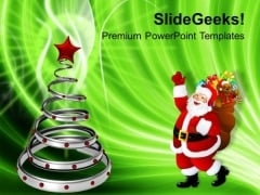 Decorative Tree With Santa Claus Christmas PowerPoint Templates Ppt Backgrounds For Slides 1112