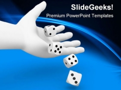 Dice Rolling From Hand Game PowerPoint Templates And PowerPoint Backgrounds 0211