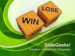 Dice Win Vs Lose Future PowerPoint Templates And PowerPoint Themes 0712