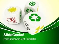 Dices Recycle Shapes PowerPoint Themes And PowerPoint Slides 0411