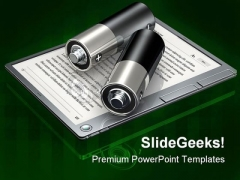 Digital Book Batteries Technology PowerPoint Templates And PowerPoint Backgrounds 0211