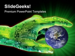 Digital Pointer Globe PowerPoint Themes And PowerPoint Slides 0511