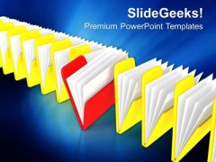 Distinct Red Folder In Row Of Folders PowerPoint Templates Ppt Backgrounds For Slides 0113