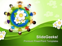 Diversity In Friendship Globe PowerPoint Backgrounds And Templates 0111