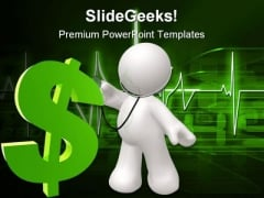Doctor Checking Dollar Health PowerPoint Backgrounds And Templates 1210