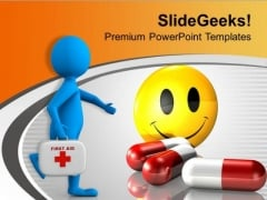 Doctor With Medical Aid For Healthy Living PowerPoint Templates Ppt Backgrounds For Slides 0613