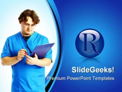 Doctor With Reports Medical PowerPoint Themes And PowerPoint Slides 0811