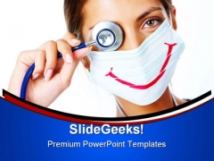 Doctor With Smiley Mask Medical PowerPoint Themes And PowerPoint Slides 0411