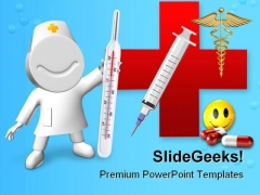Doctor With Thermometer Hospitality PowerPoint Themes And PowerPoint Slides 0211