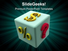 Dollar Dice Metaphor PowerPoint Templates And PowerPoint Backgrounds 0211