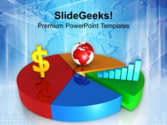 Dollar Fluctuation Glabaly With Pie Chart PowerPoint Templates Ppt Backgrounds For Slides 0313
