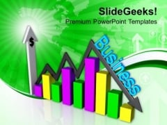 Dollar Growth And Decline Bar Graph PowerPoint Templates Ppt Backgrounds For Slides 0413