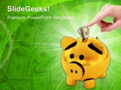 Dollar Notes And Piggy Bank Currency PowerPoint Templates And PowerPoint Themes 1012