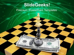 Dollars And Chess On Chessboard Money PowerPoint Templates And PowerPoint Themes 1012