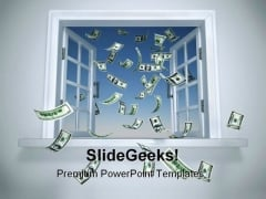 Dollars Falling Through The Window Money PowerPoint Backgrounds And Templates 1210