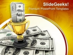 Dollars In Trophy Winner Concept PowerPoint Templates Ppt Backgrounds For Slides 0113