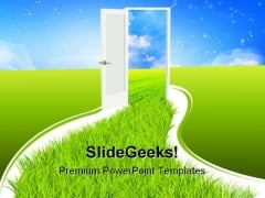 Door Nature PowerPoint Template 0610