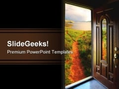 Door To Adventure Nature PowerPoint Template 1110
