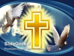 Dove Cross Light Religion PowerPoint Template 0610