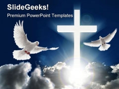 Dove Cross Religion PowerPoint Template 0610