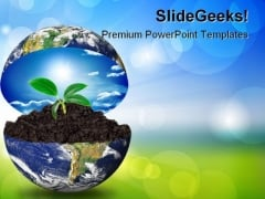 Earth In Plant Environment PowerPoint Templates And PowerPoint Backgrounds 0211