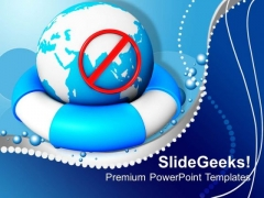 Earth On A Lifeline Concept Globe PowerPoint Templates And PowerPoint Themes 1012