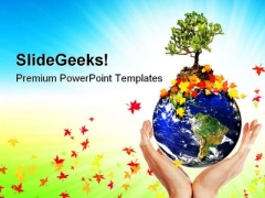 Earth With A Tree Globe PowerPoint Themes And PowerPoint Slides 0611