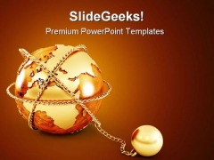Earth With Chain Global PowerPoint Backgrounds And Templates 0111