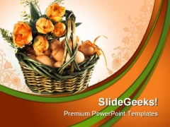 Easter Basket With Eggs Festival PowerPoint Themes And PowerPoint Slides 0511