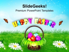 Easter Basket With Suprise Egg PowerPoint Templates Ppt Backgrounds For Slides 0313